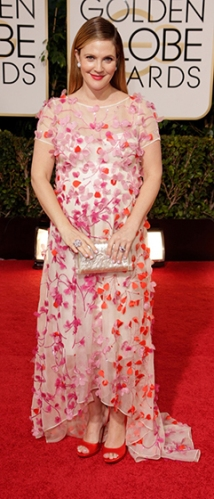 Drew Barrymore in a Monique Lhuillier